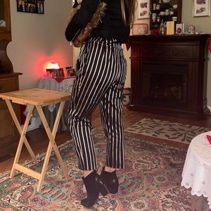 H&M black and gold stripe high waisted pants